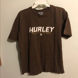 Hurley Brown Graphic Logo Tee Shirt Sz Large